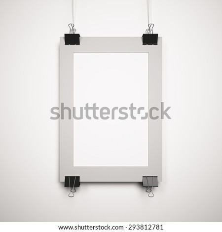 blank poster on the border with clips