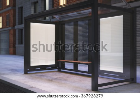 Blank poster on the wall of bus stop on night city street, mock up 3D Render - stock photo
