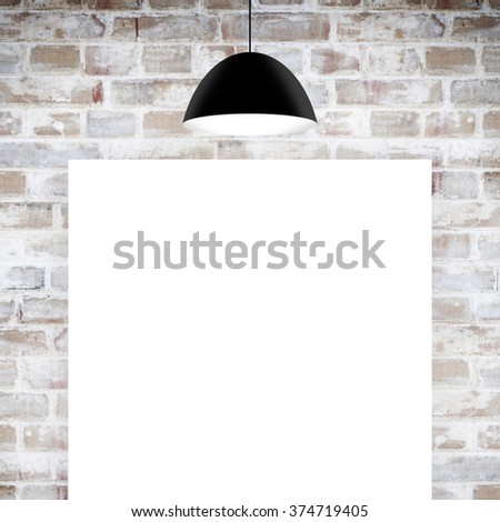 Blank poster over brick wall - stock photo