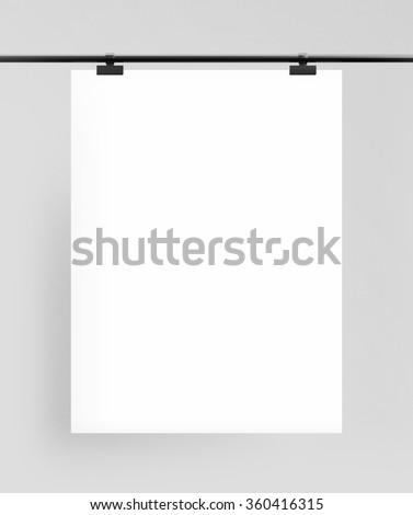 blank poster with  clips on white background - stock photo
