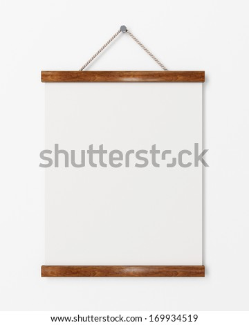 blank poster with wooden frame hanging on the white wall, background - stock photo