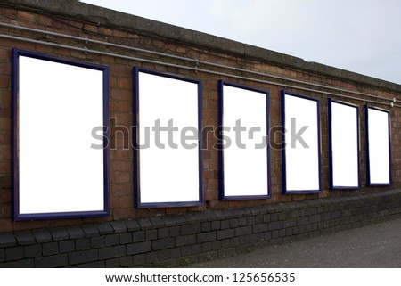 Blank posters at train station - stock photo