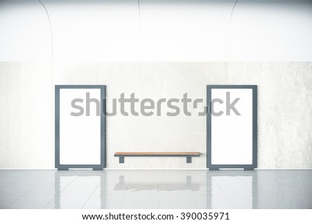 Blank posters in empty hall and wooden bench, mock up, 3D Render - stock photo