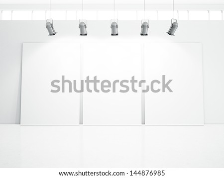 blank posters in white room - stock photo