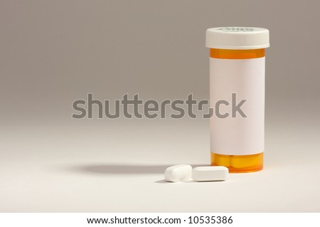 Blank Prescription Bottle and Pills with room for your own copy. - stock photo