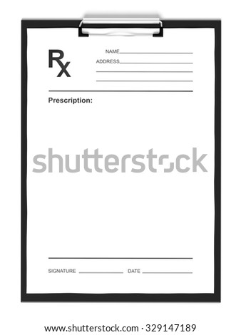 Blank prescription form, isolated on white background. - stock photo