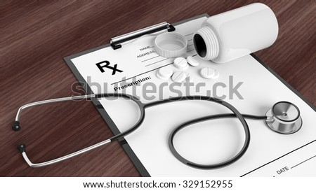 Blank prescription form with bottle of pills and stethoscope, on wooden desktop. - stock photo