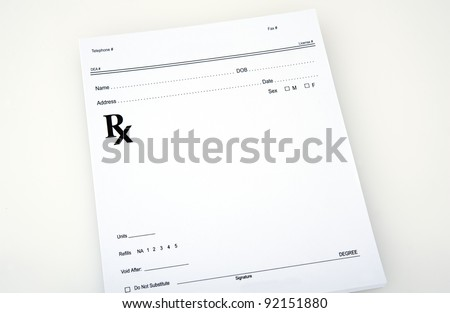 Blank prescription ready for you to fill. Includes all the basic information
