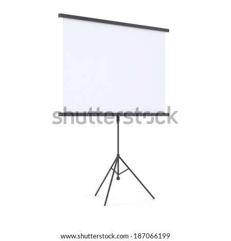 Blank presentation roller screen. Isolated render on white background