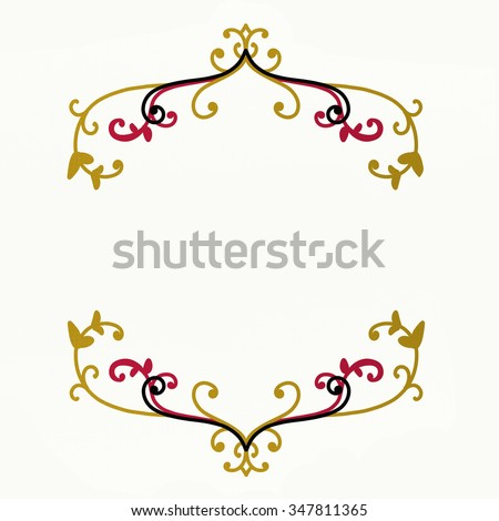 blank pretty poster sign or website background with elegant design elements in fancy red black and gold on slightly yellowed paper, beautiful wedding design or product label - stock photo