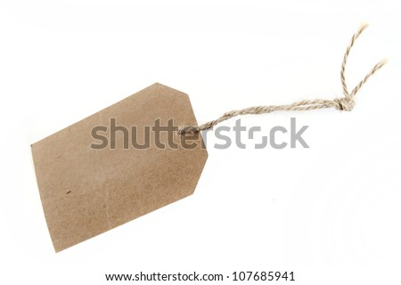 Blank price tag and string on plain background