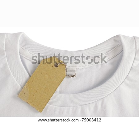 blank price tag hang over white tshirt. isolated over white background - stock photo