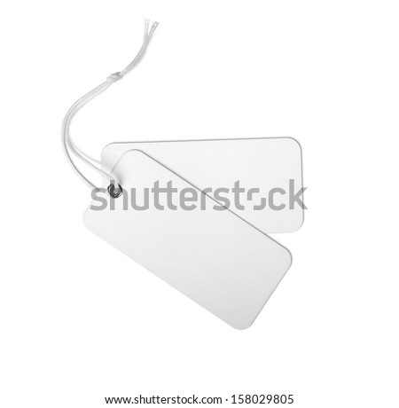 blank price tag isolated on a white background - stock photo
