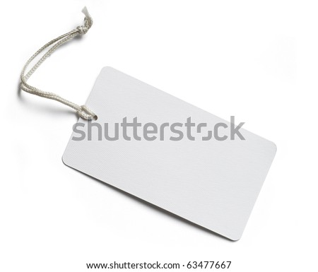 Blank price tag isolated on white with soft shadow, clipping path included - stock photo