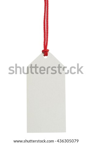 Blank price tag on white background