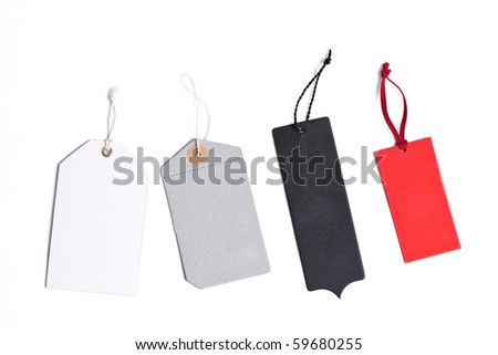 blank price tags isolated on white background - stock photo