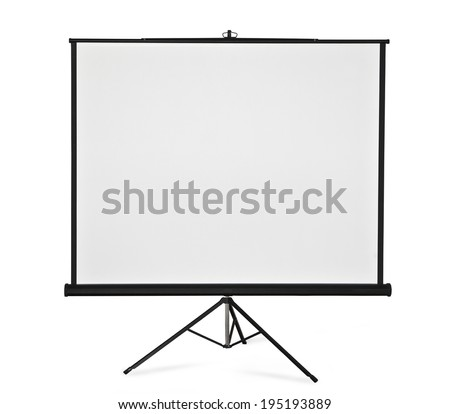 Blank projection screen on tripod. - stock photo