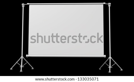 Blank projection screen with tripod isolated on black background High resolution 3d render - stock photo