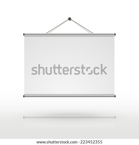 blank projector screen isolated on white background - stock photo