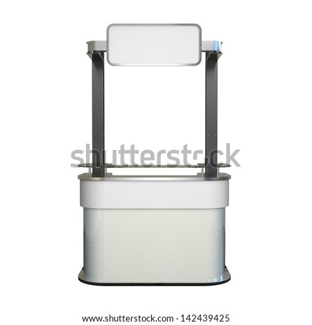 blank promo counter made of steel and plastic isolated on white - stock photo