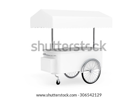 Blank Promotion Cart and Canopy on a white background - stock photo