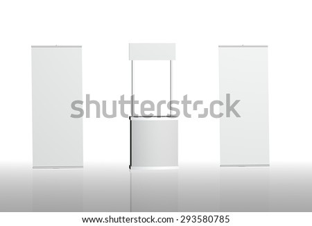 Blank promotion counter, booth banner, L-banner folding on a white background with space for text