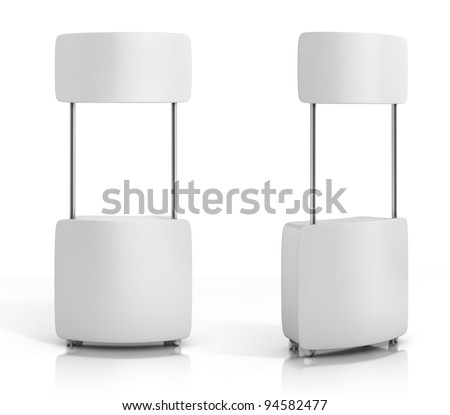 blank promotion counter isolated on the white background - stock photo