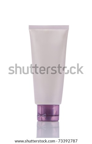 blank purple tube with reflex isolated on white