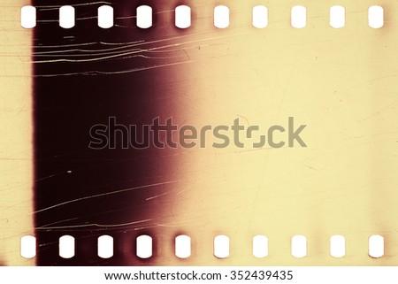 Blank purple vibrant noisy film strip texture background - stock photo
