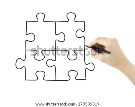 blank puzzle drawn by man's hand isolated on white background - stock photo