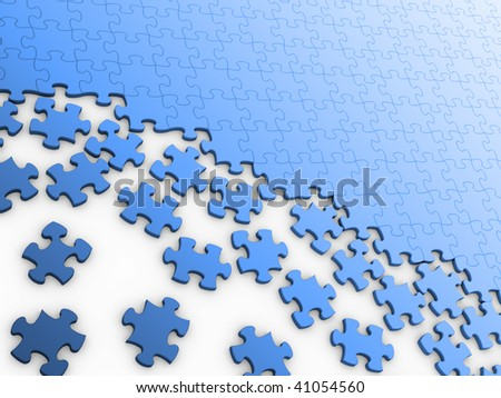 Blank puzzle for background. Isolated on white.
