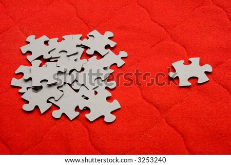 Blank puzzle pieces on red background (colors are free to change)