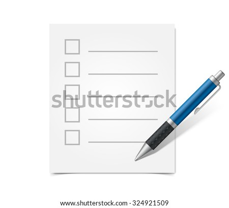 Blank questionnaire and blue ballpoint pen - stock photo