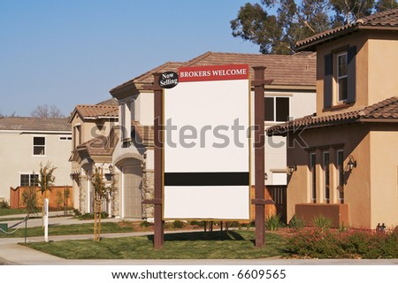 Blank Real Estate Community Sign. Ready for your own message.