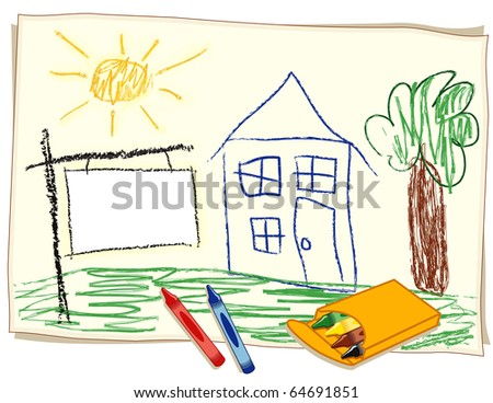 Blank Real Estate Sign. Copy space to add text: Sold, For Rent, For Lease, Foreclosure, Sale. Child's crayon drawing of house in a sunny landscape with blank real estate sign and box of crayons. - stock photo