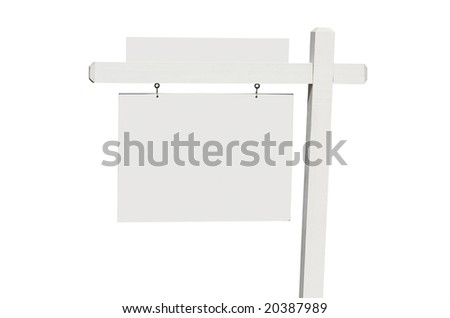 Blank Real Estate Sign Isolated on a White Background. - stock photo