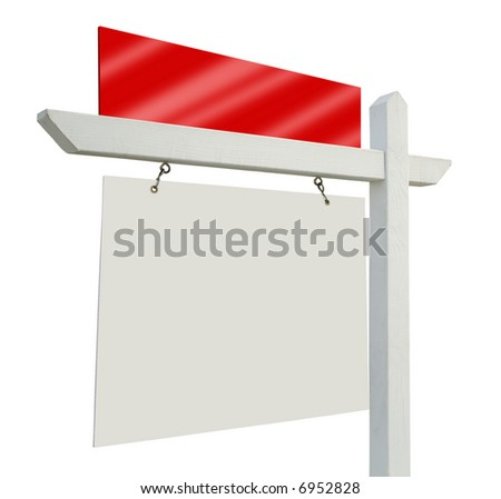 Blank Real Estate Sign Isolated on a White Background - ready for your message and your own background as well. - stock photo