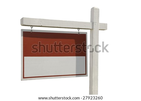 Blank Real Estate Sign Isolated on a White Background Ready for Your Own Message.