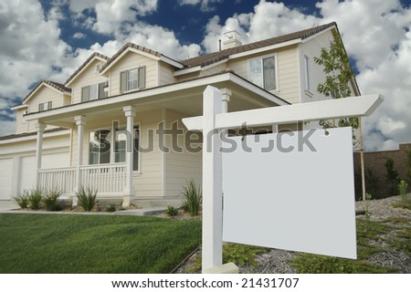 Blank Real Estate Sign & New Home - stock photo