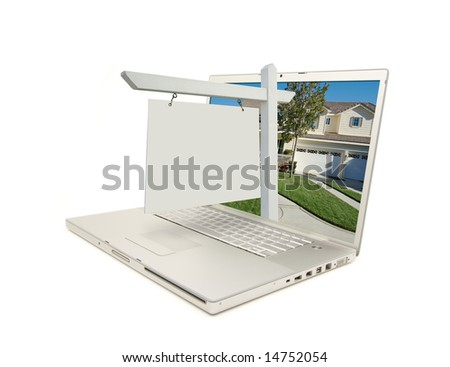 Blank Real Estate Sign & New Home on Laptop isolated on a white Background. - stock photo