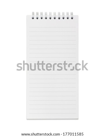Blank realistic spiral notepad, notebook isolated on white background with clipping paths. - stock photo