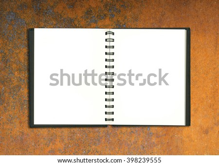 blank realistic spiral notepad notebook rust plate - stock photo