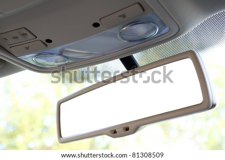 Blank rear view mirror with a clipping path. - stock photo