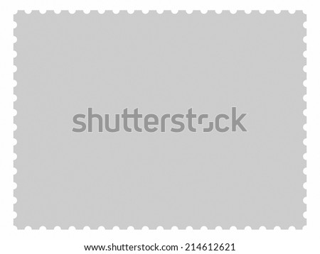 Blank rectangular postage stamp isolated on white background. The proportion is 3 to 4 - stock photo