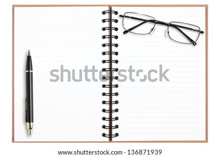 blank recycle notebook with pen & eyeglasses isolated on white