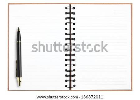 blank recycle notebook with pen isolated on white