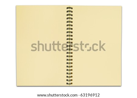 blank recycle paper notebook open two page isolated on white background for multipurpose use - stock photo