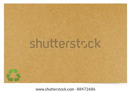 Blank recycled paper craft on white background - stock photo