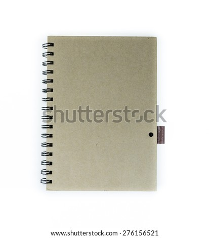 Blank recycled paper notebook front cover isolated on white background with clipping path - stock photo