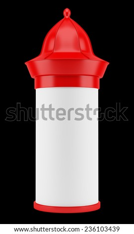 blank red advertising column isolated on black background - stock photo